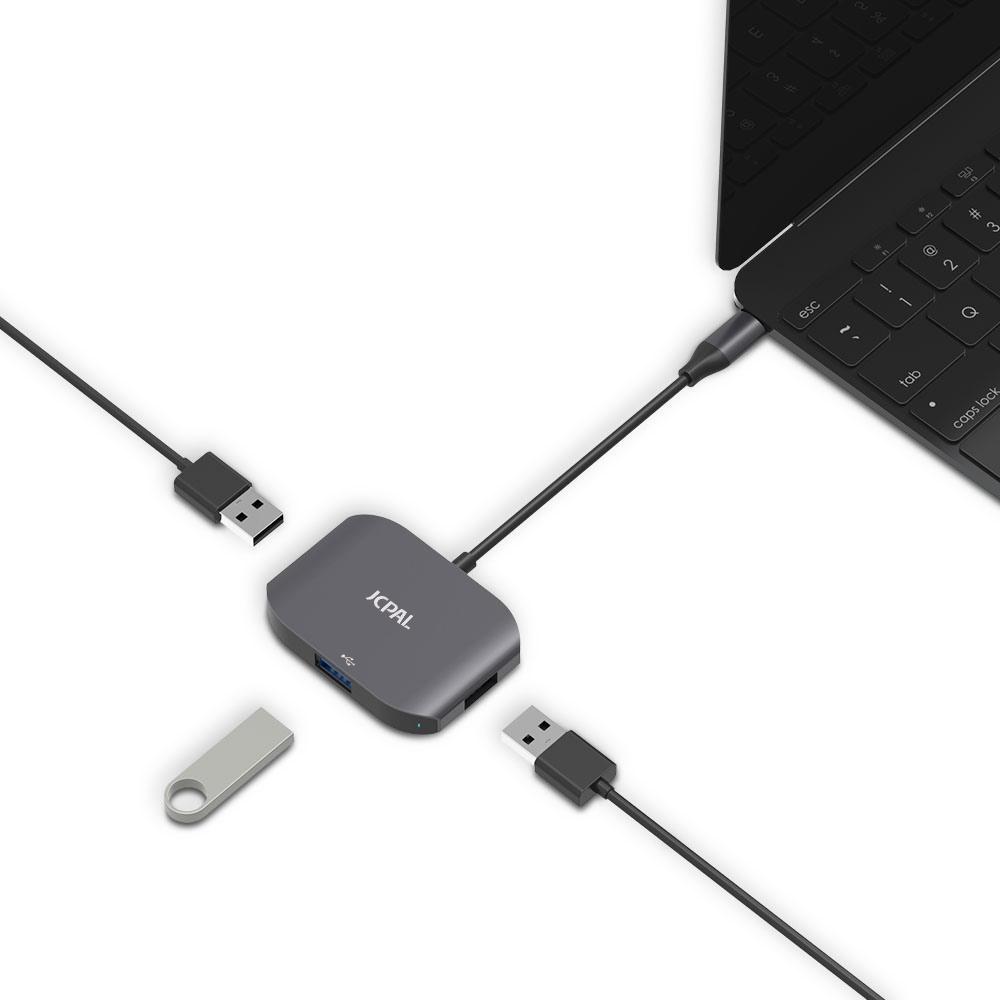 jcpal cable usb c to usb 3 port hub 2305701838882 2048x آداپتور مبدل پورت USB C به USB 3.0 جی سی پال | فروشگاه اینترنتی آی تی پخش